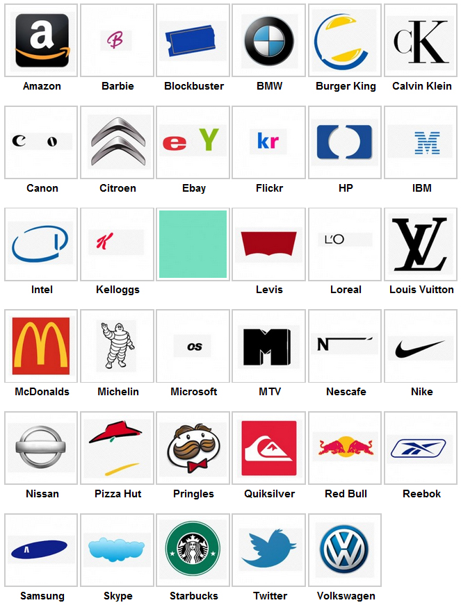 Brand Logo Quiz Answers Level 1